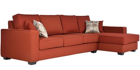Oritz Three Seater Sofa With Lounger And Throw Pillows In Burnt Sienna Colour By Casacraft