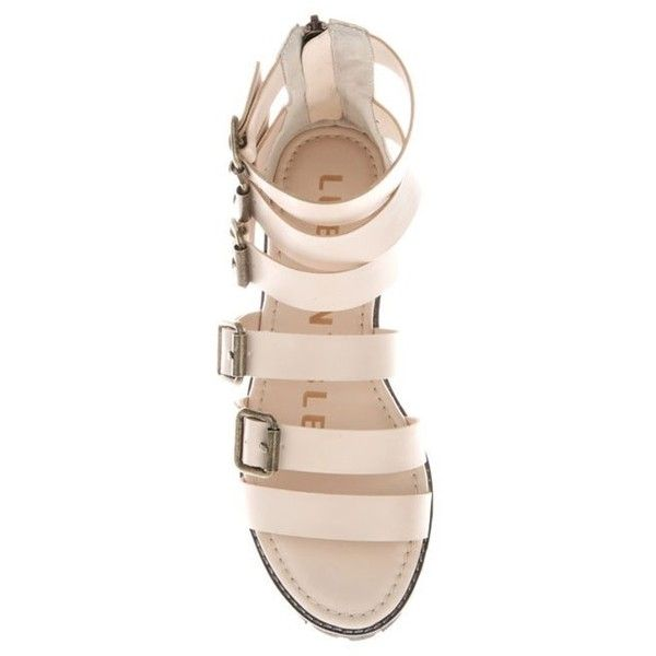 Beige Bunny Gladiators Sandals ($65) ❤ liked on Polyvore featuring shoes, sandals, flats, beige sandals, beige flats, flat shoes, gladiator flats sandals and beige flat shoes