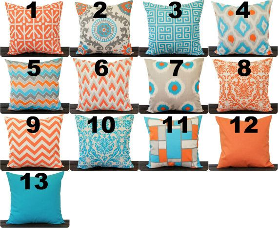 Orange And Aqua Throw Pillow Cover By Thepillowpeople