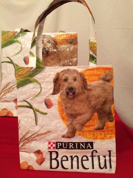 Recycled Repurposed Purina Beneful Orange White Tote Bag Market