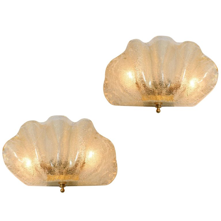 murano glass clam shell wall lights
