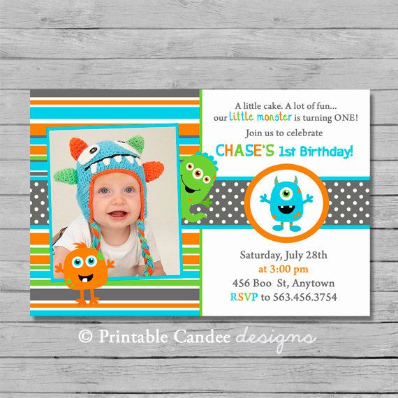 Monster Birthday Invitation Monster Party Invitation Little – Custom 1st Birthday Invitations