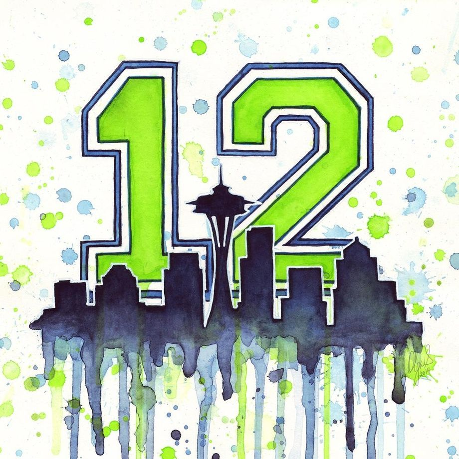 Seattle Seahawks 12th Man Art by Olga Shvartsur