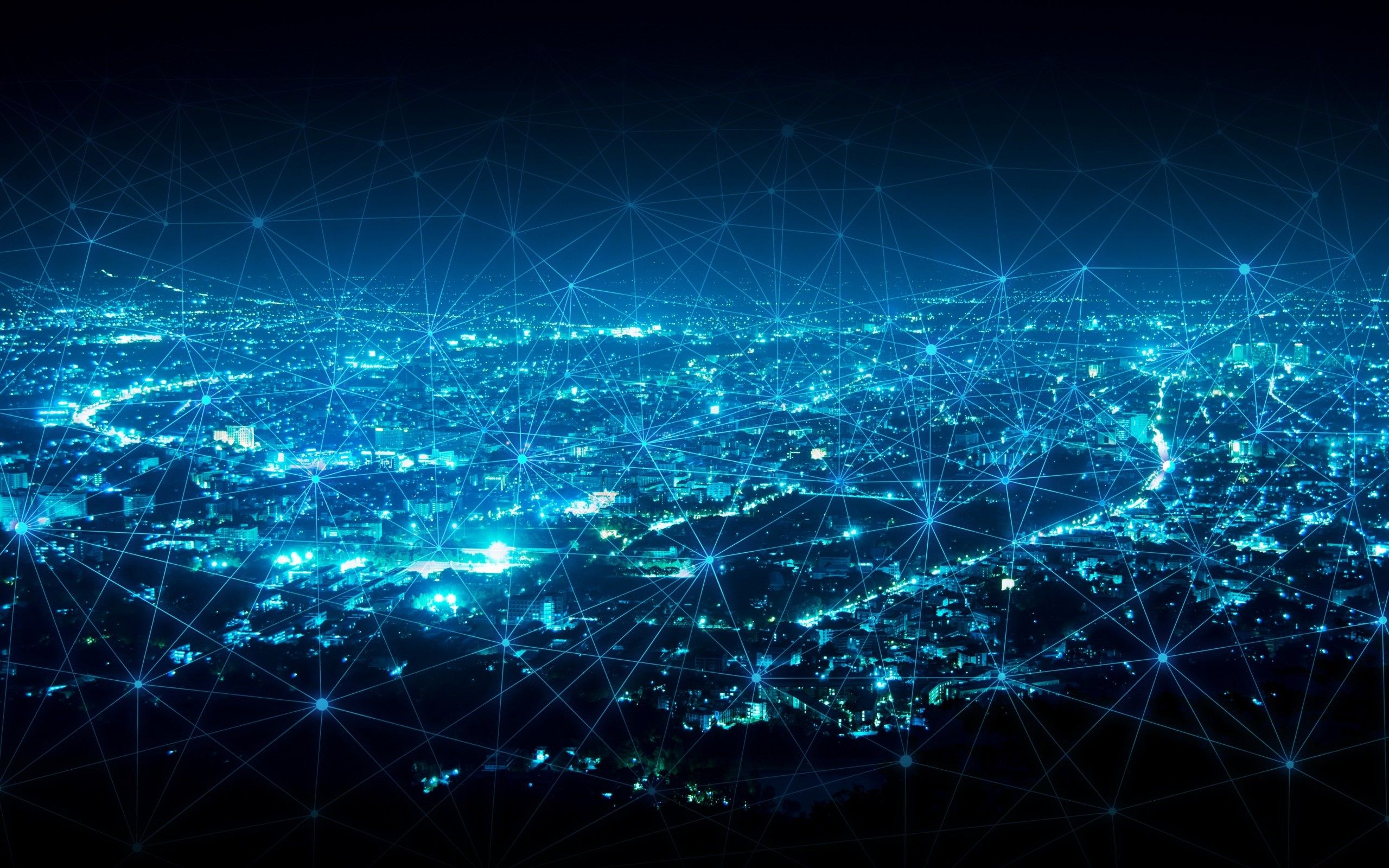 Res 2560x1600 Computer Networks Network Technologies Blue Neon Lines Modern City Network Concepts City Background Night City Abstract Lines
