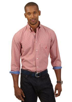 Nautica  Long Sleeve Wrinkle Resistant Multi Stripe Shirt
