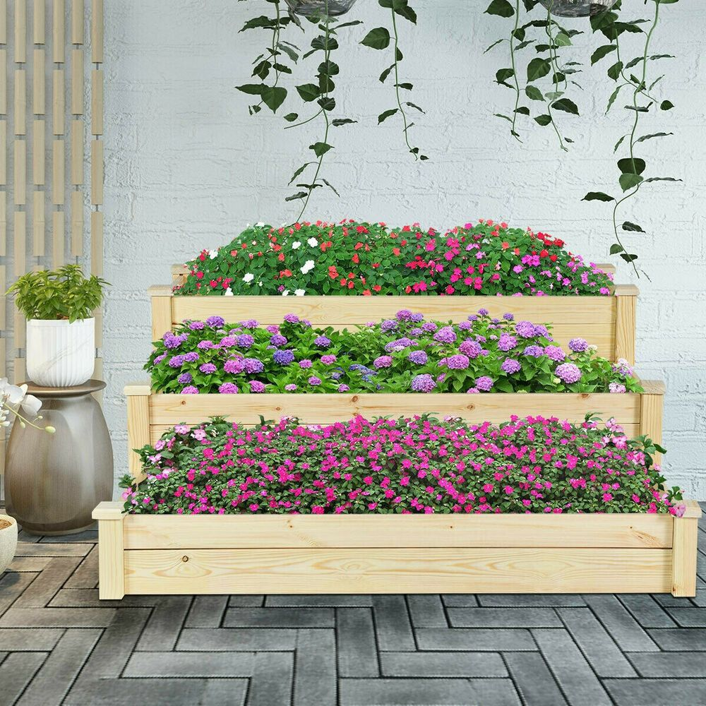 Details About Raised Garden Bed 3 Levels Wood Vegetable Bed Grow Plants Flowers Three Tiers In 2020 With Images Raised Garden Beds Wooden Raised Garden Bed Garden Beds