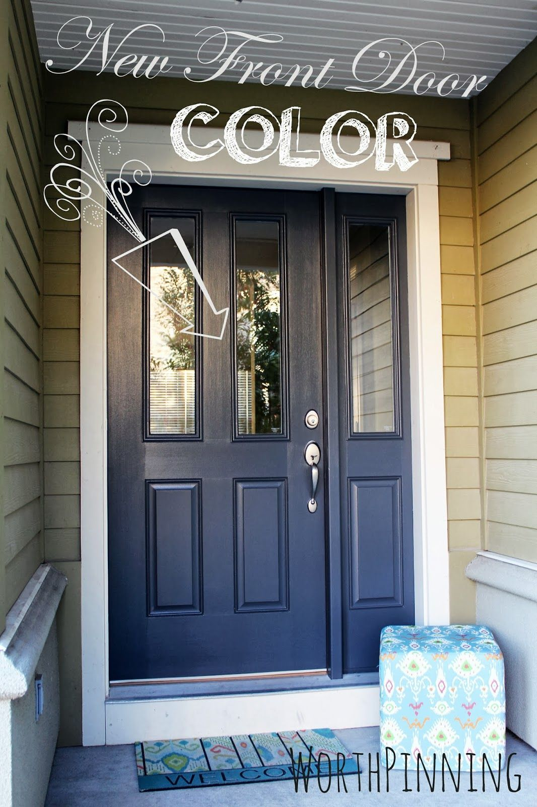 Front door paint color dark grey blue front of house - What color door goes with gray house ...
