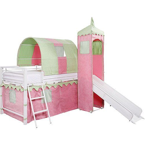 Girl S Castle Tent Loft Bed W Slide Under Bed Storage Girl S
