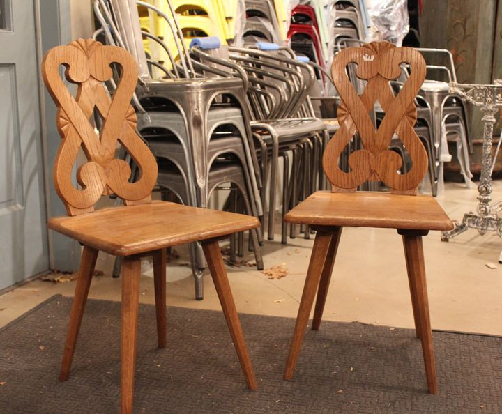 Set Of 4 French Vintage Tavern Restaurant Chairs From Alsace Lorraine Province Vosges
