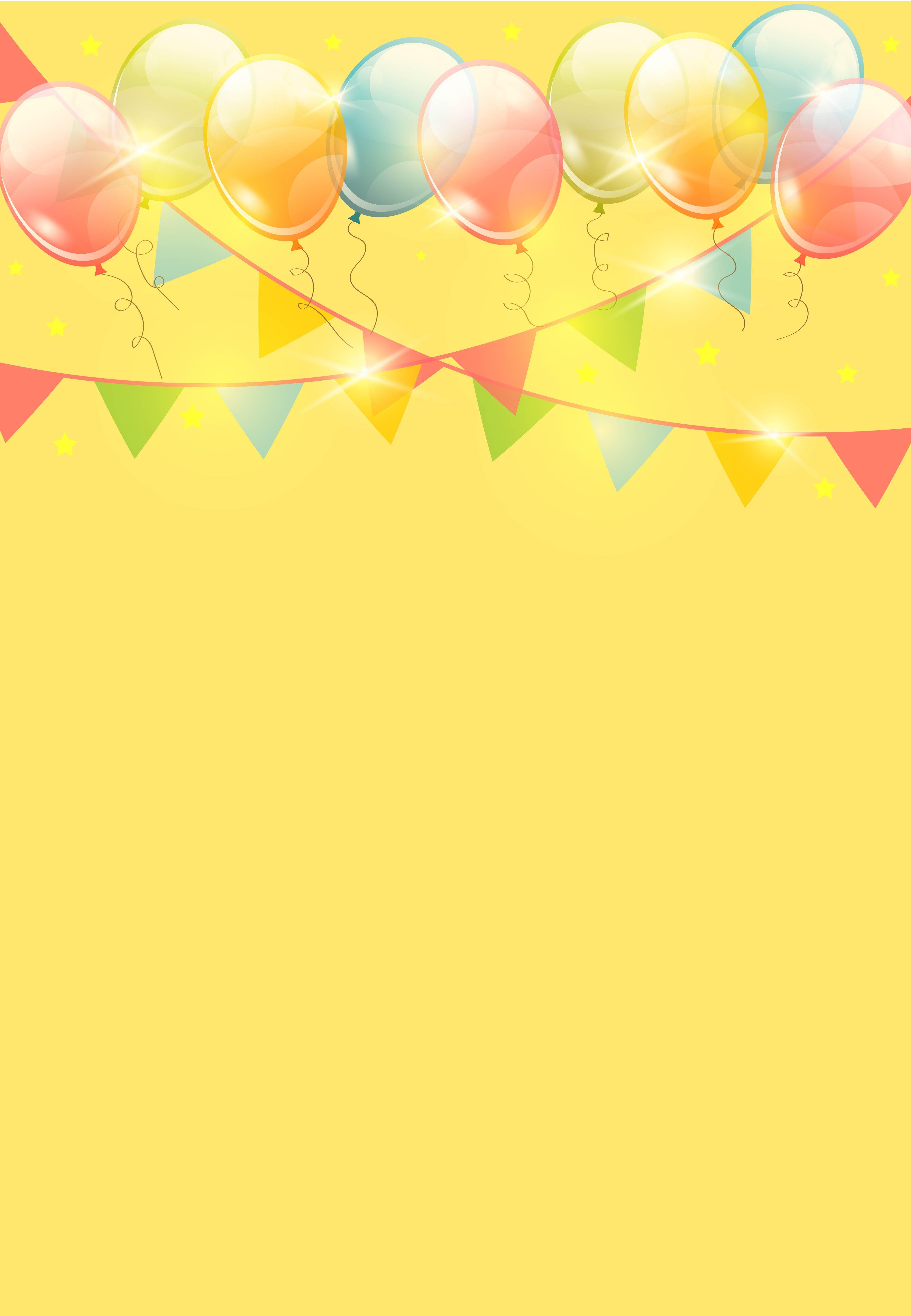 Vector Cartoon Celebration Children Balloon Ribbons