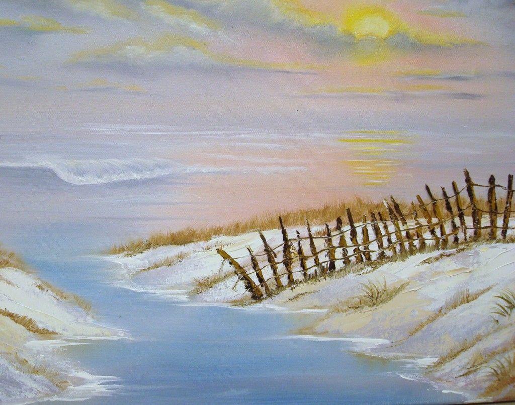 Seascape Paintings Beach Mini Watercolor Bob Ross Art