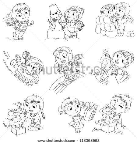 making snow angels coloring pages | winter sledding coloring pages - Google Search | Winter ...