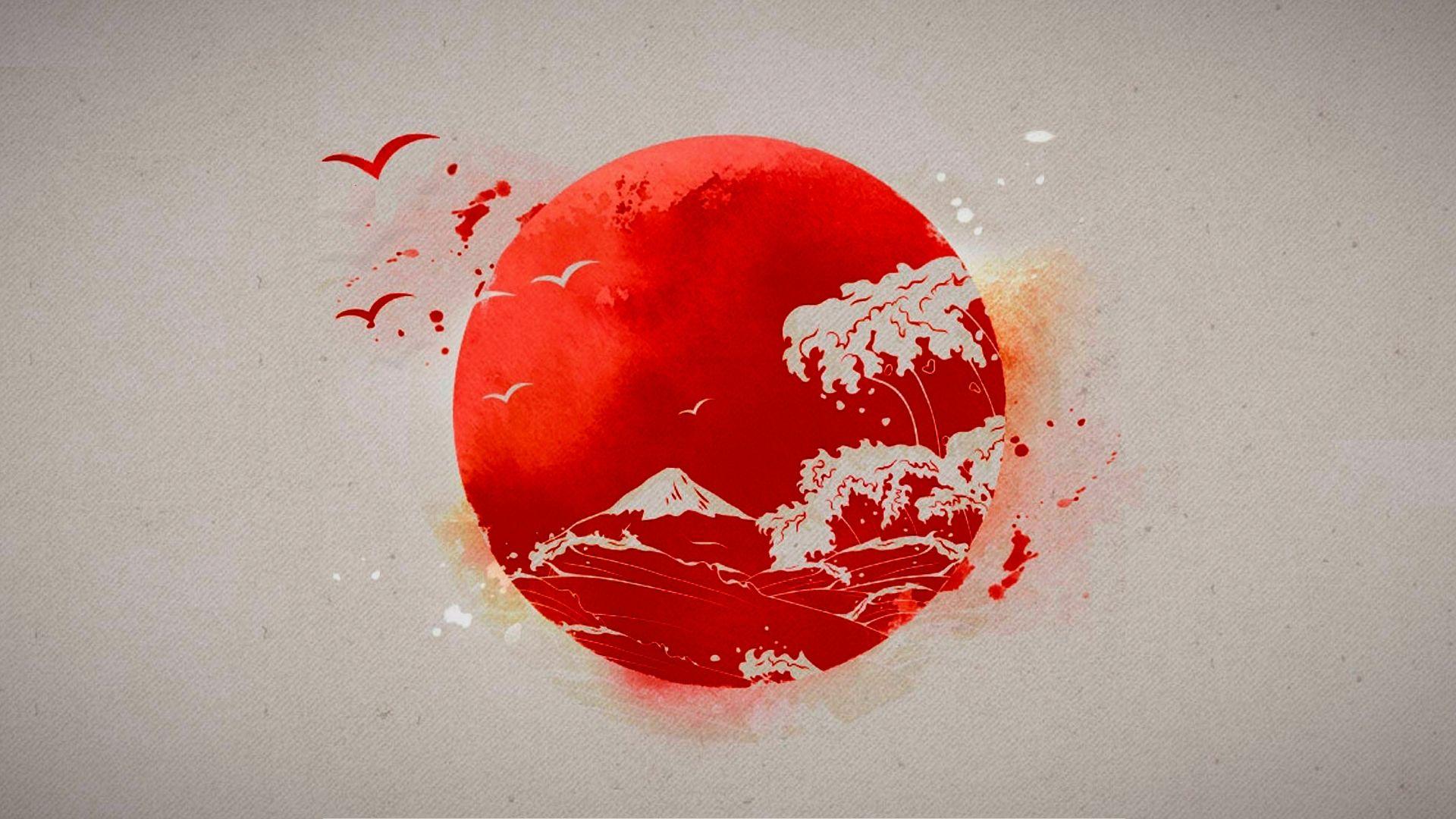 Japan Flag Hd Wallpaper 1920x1080 Id 54521 Japanese Sun Tattoo Japanese Drawings Japan Flag