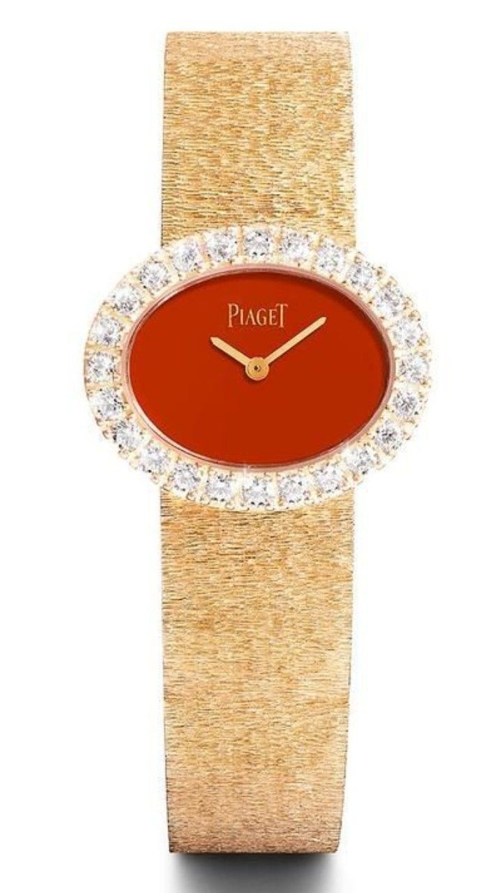 PIAGET  Rose Gold and Diamond Watch - 18-carat rose Gold case - Natural red Cornelian dial with white Diamonds adorning the bezel - Piaget 56p quartz movement - Finely articulated rose Gold strap - •£ 51,000.00 •Piaget created this version of Jackie Kennedy's iconic watch in celebration of release of the film Jackie .