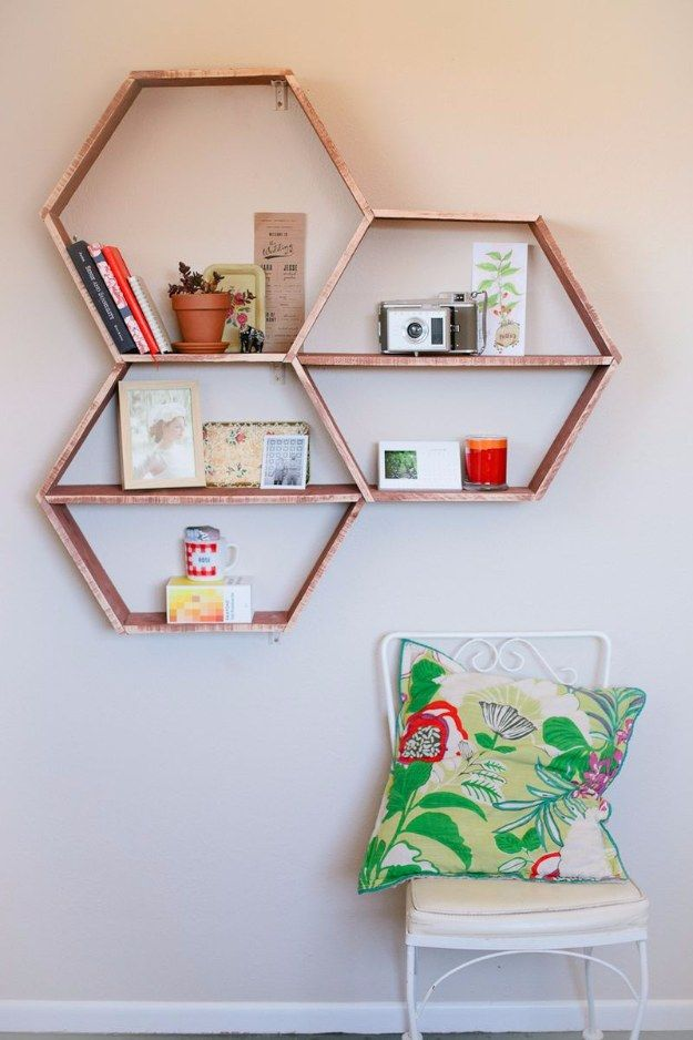 38 Brilliant Home Office Decor Projects. Honeycomb ShelvesHexagon  ShelvesGeometric ShelvesDiy ...
