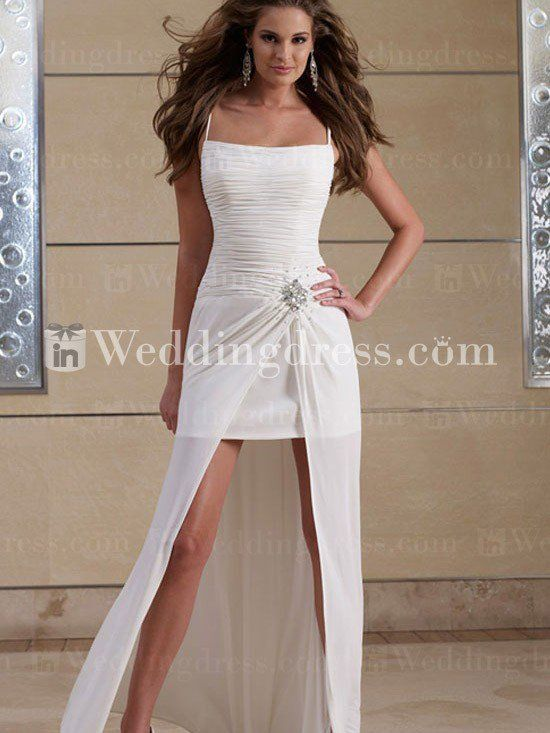 d23f092397ca Summer Informal Short Bridal Dress with Long Overskirt Spaghetti Strap Wedding  Dress, Sexy Wedding Dresses