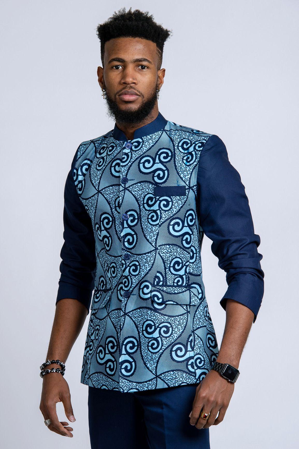 9c3efb9c91 Zain Navy Blue Men's African Print Abacost Blazer ( Shirt + Pant) in ...