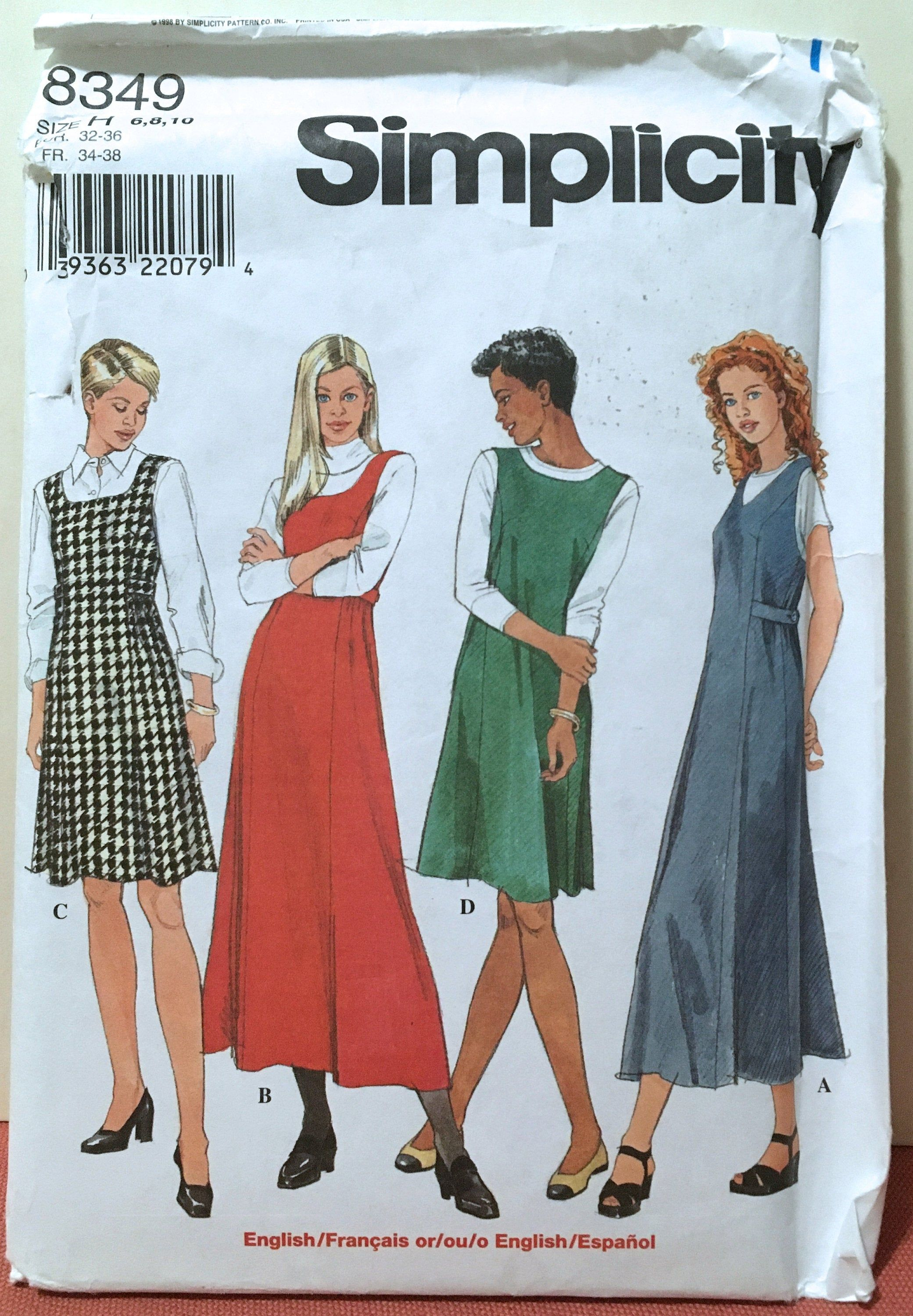 Simplicity 8349 Jumper With Princess Seams Sewing Pattern 6 8 10 Uncut Jumpers For Women Fit Flare Vogue Sewing Patterns