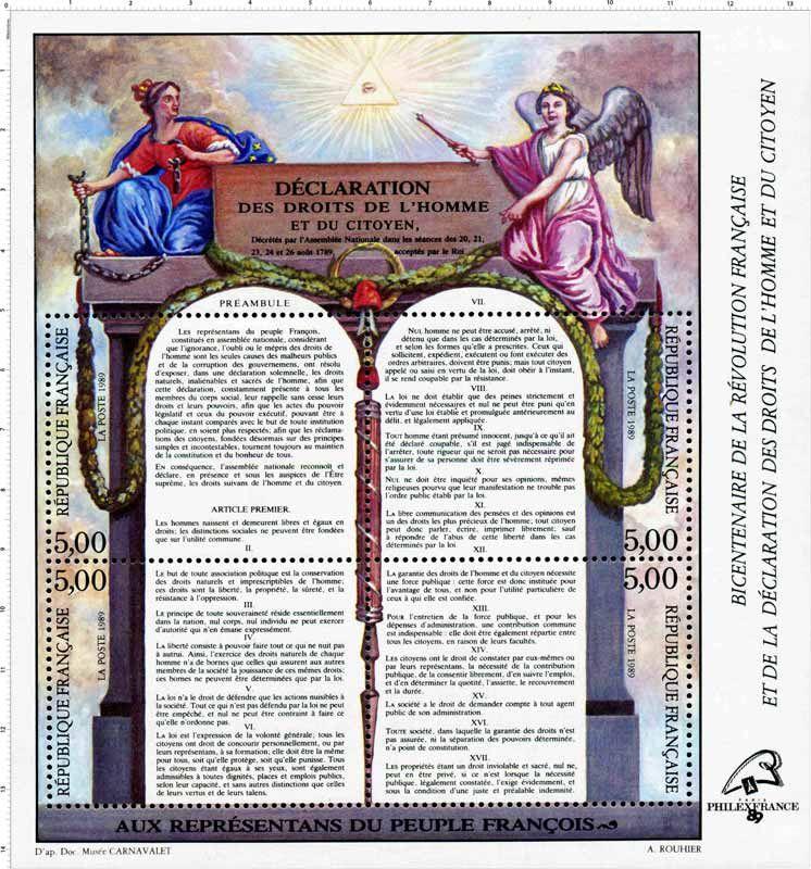 Timbre 1789 Declaration Des Droits De L Homme Et Du Citoyen Wikitimbres Droits De L Homme Symbole De La Republique Fete Nationale Francaise