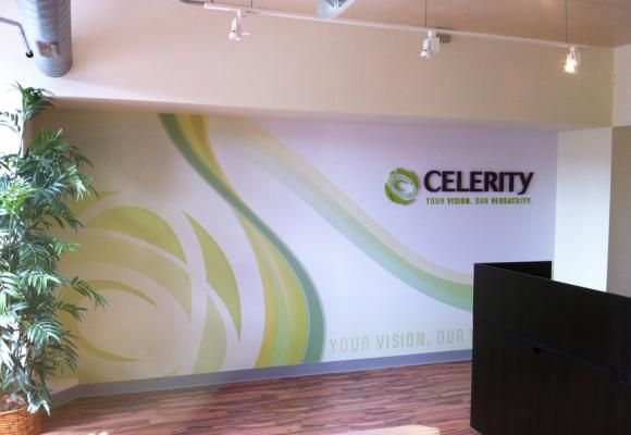 corporate office wall graphics for celebrity 3d sign logo on wall mural wall covering more - Wall Graphic Designs