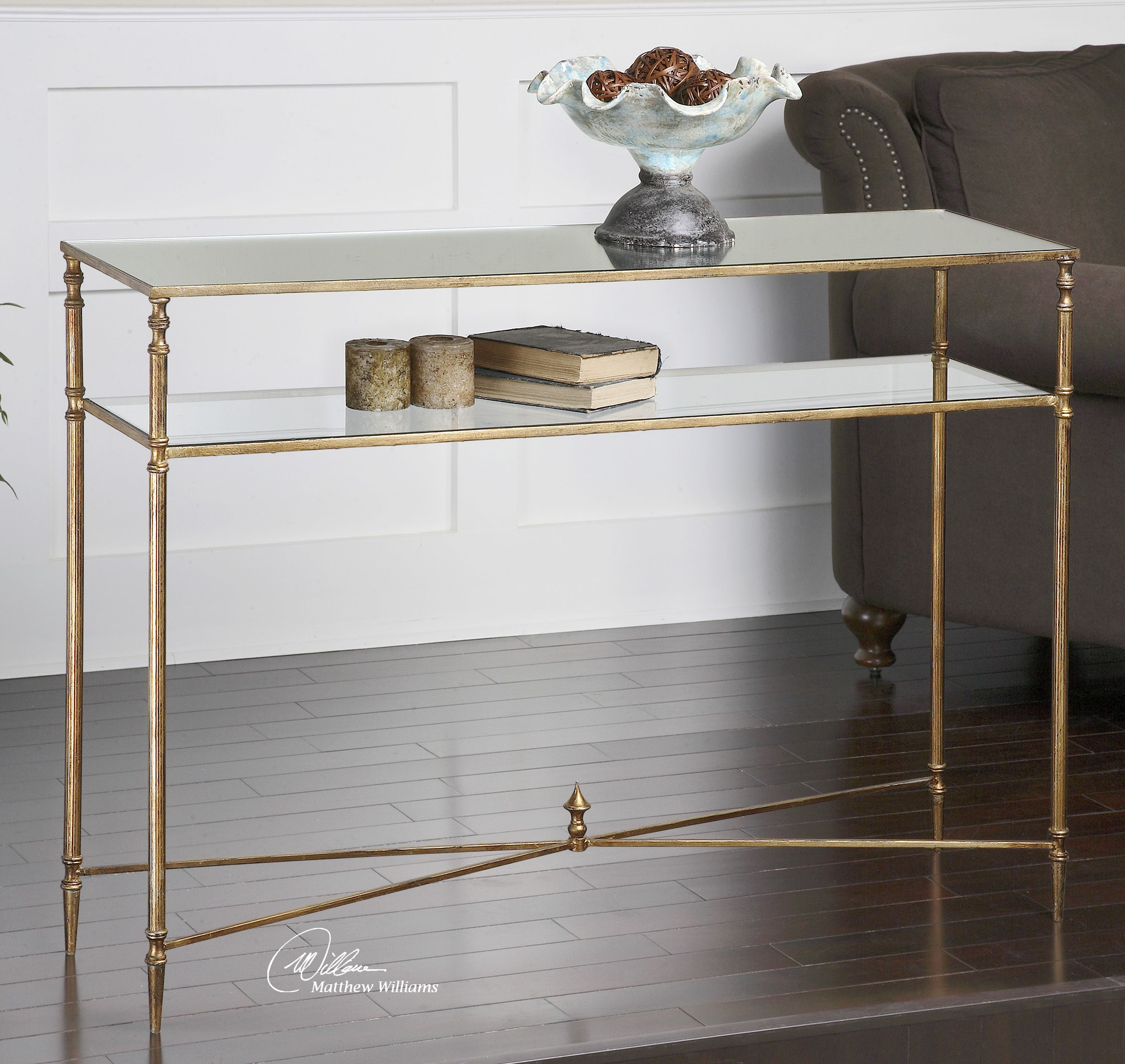 Glass console table with shelf henzler mirrored glass console table  occasional tables  pinterest