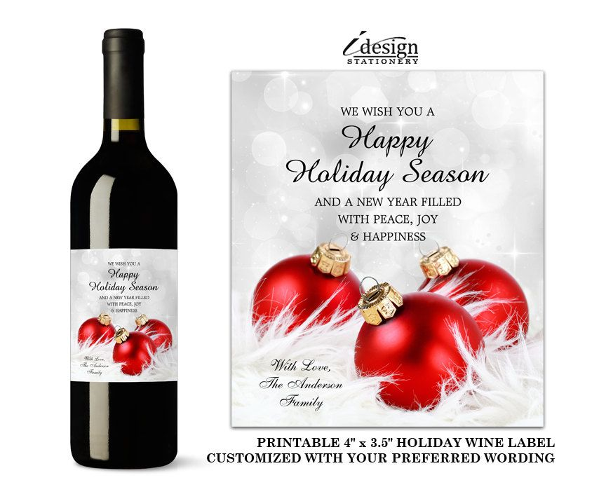 Christmas Wine Labels With Personalized Holiday Greetings Elegant