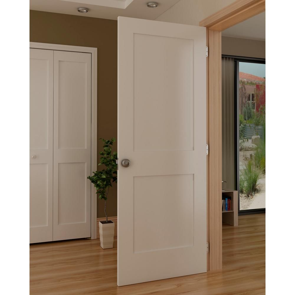 Kimberly Bay 24 In X 80 In White 2 Panel Shaker Solid Core Pine
