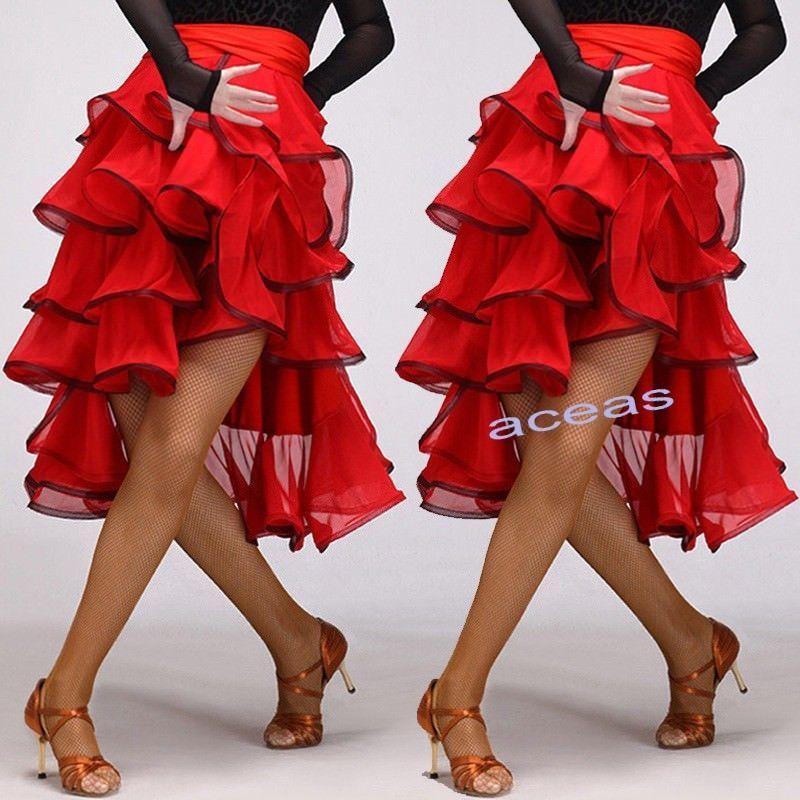 Women/'s Latin Paso Doble Cloak Costume Dance Dress Skirts Ballroom Skirts Red