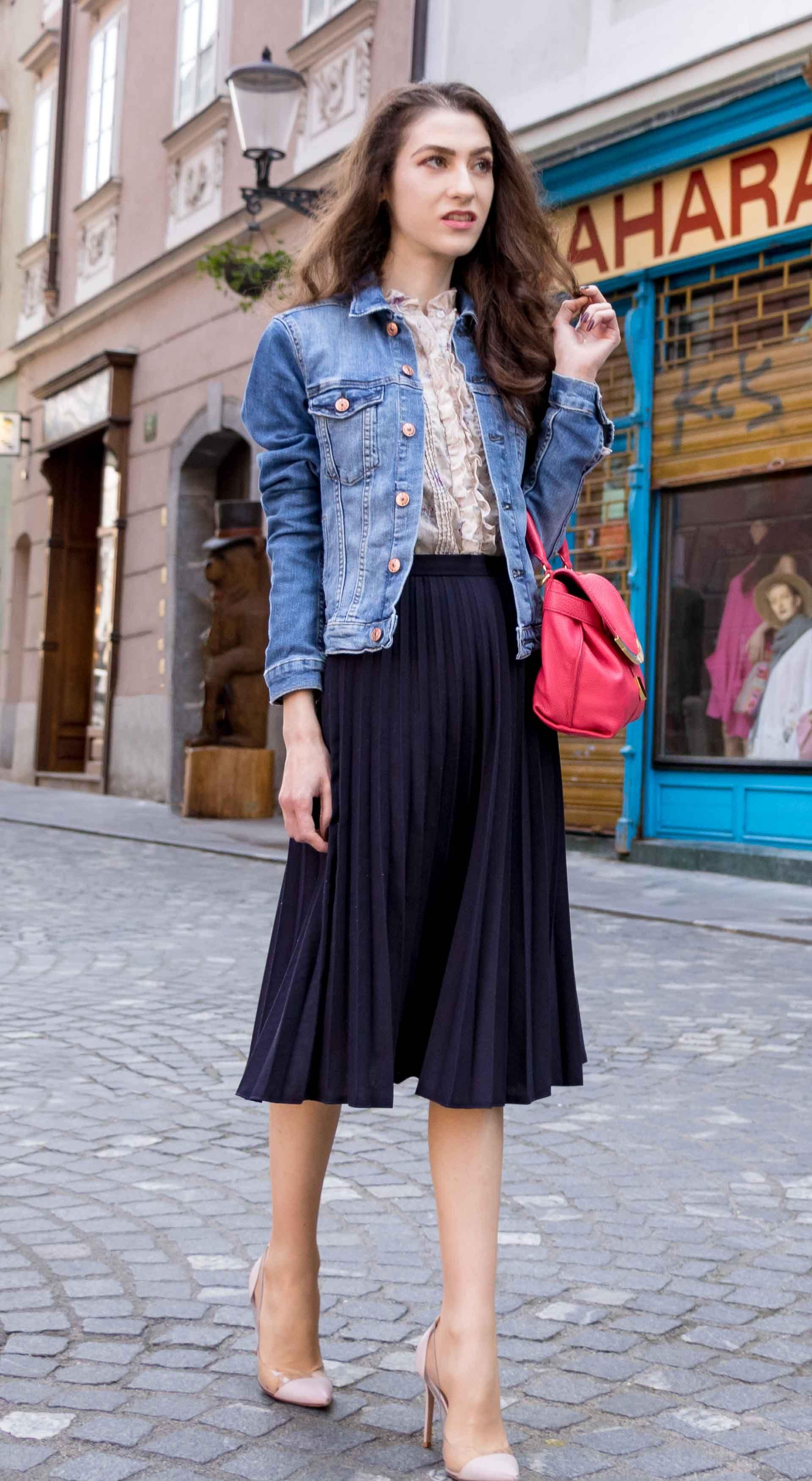 b9d7313293 Veronika Lipar Fashion Blogger of Brunette from Wall Street wearing H&M  denim jacket, floral blouse, midi pleated skirt, Gianvito Rossi plexi  pumps, ...