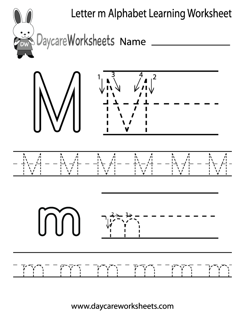 Worksheets Free Printable Alphabet Worksheets For Pre-k preschoolers can color in the letter m and then trace it following draft free alphabet learning worksheet for preschool