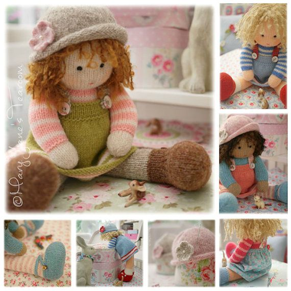 Doll Knitting Pattern Deal 4 Tearoom Dolls And Hats Toy Knitting