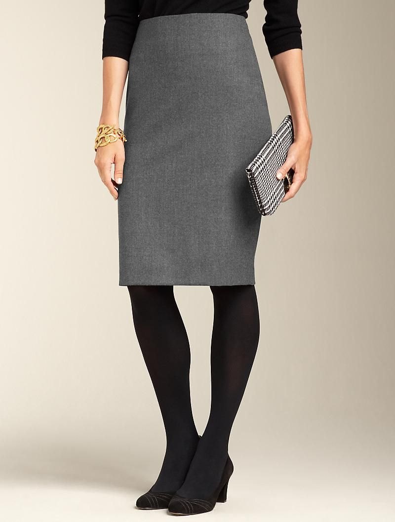5c22ac88bf Talbots - Stretch Flannel Pencil Skirt & black tights. I can dig it ...