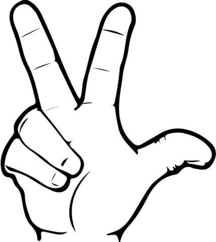 ASL Number 3 coloring page from ASL Numbers (American Sign Language ...