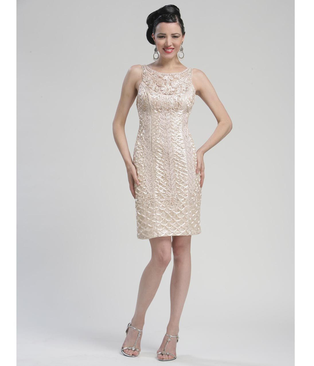 champagne colored dresses | Champagne Lace High Neck Cocktail Dress - Unique Vintage - Prom ...