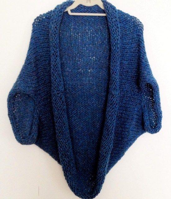Blue hand knit shrug free easy knitting pattern   Knitting ...