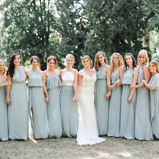 The Prettiest Line Up In Silver Sage Bridesmaid Dresses Mumuweddings Sage Bridesmaid Dresses Sage Wedding Wedding Bridesmaid Dresses