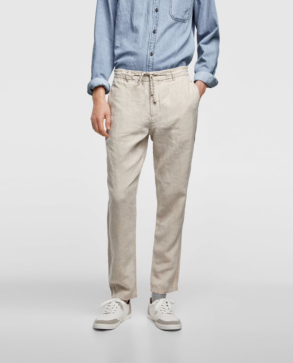 Image 2 of loosefitting linen trousers from zara mens