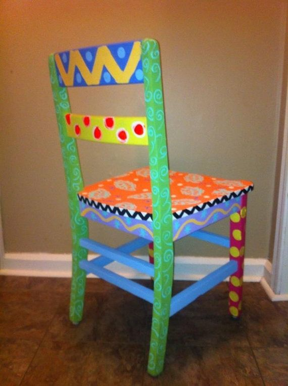 Funky hand painted chair by EyeCandyByAngie on Etsy, $70