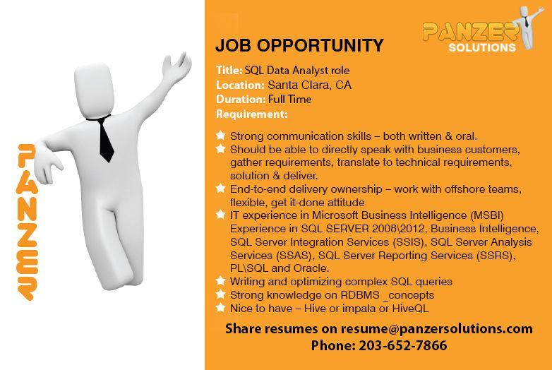 Job Title SQL Data Analyst role Location Santa Clara