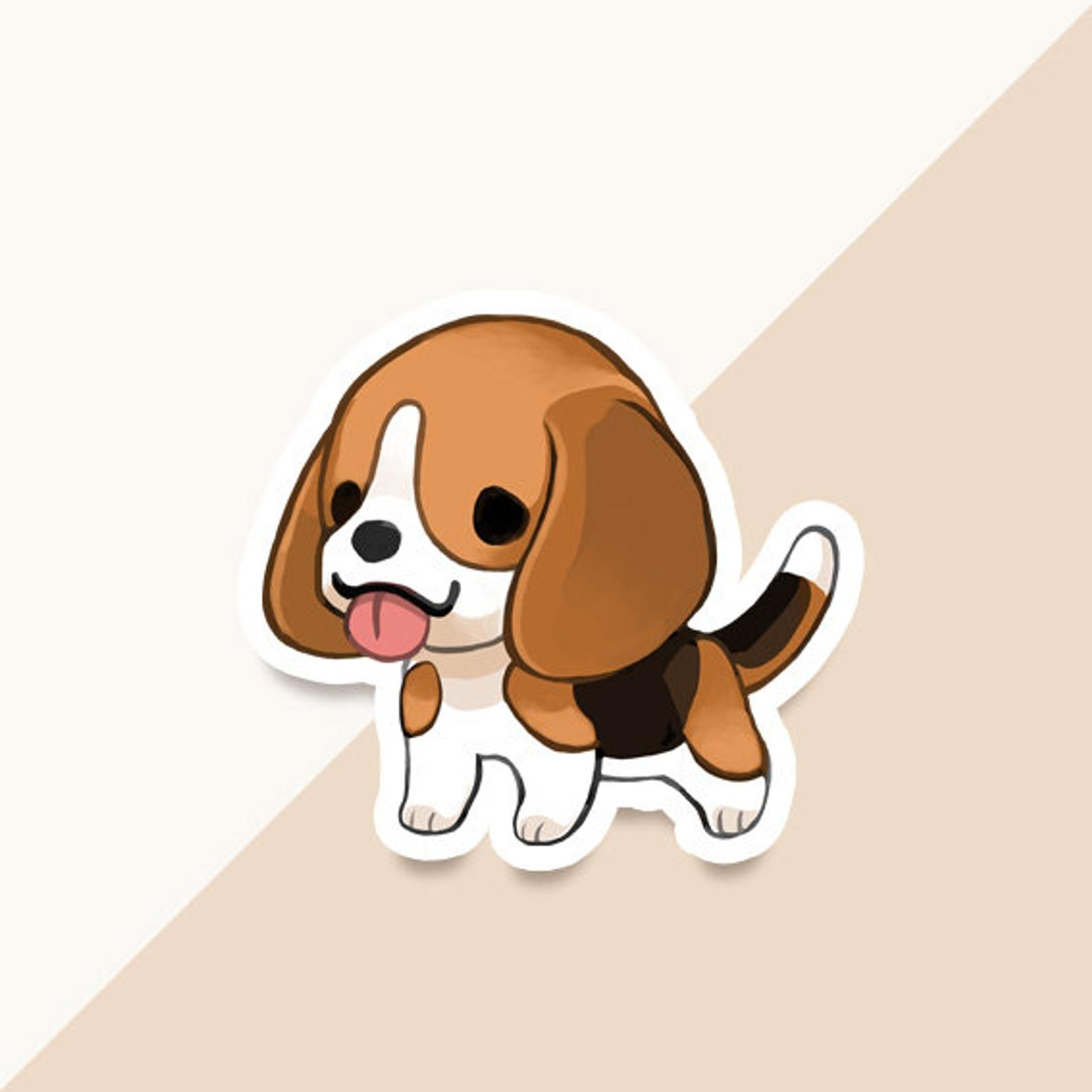 Vinyl Sticker Beagle Etsy In 2020 Cute Dog Cartoon Cute Cartoon Wallpapers Cute Dog Wallpaper