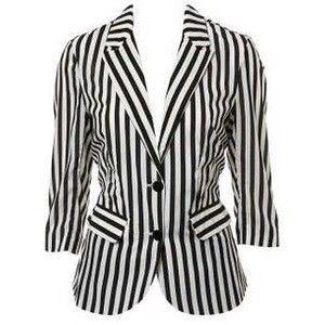 Striped Black And White Blazer