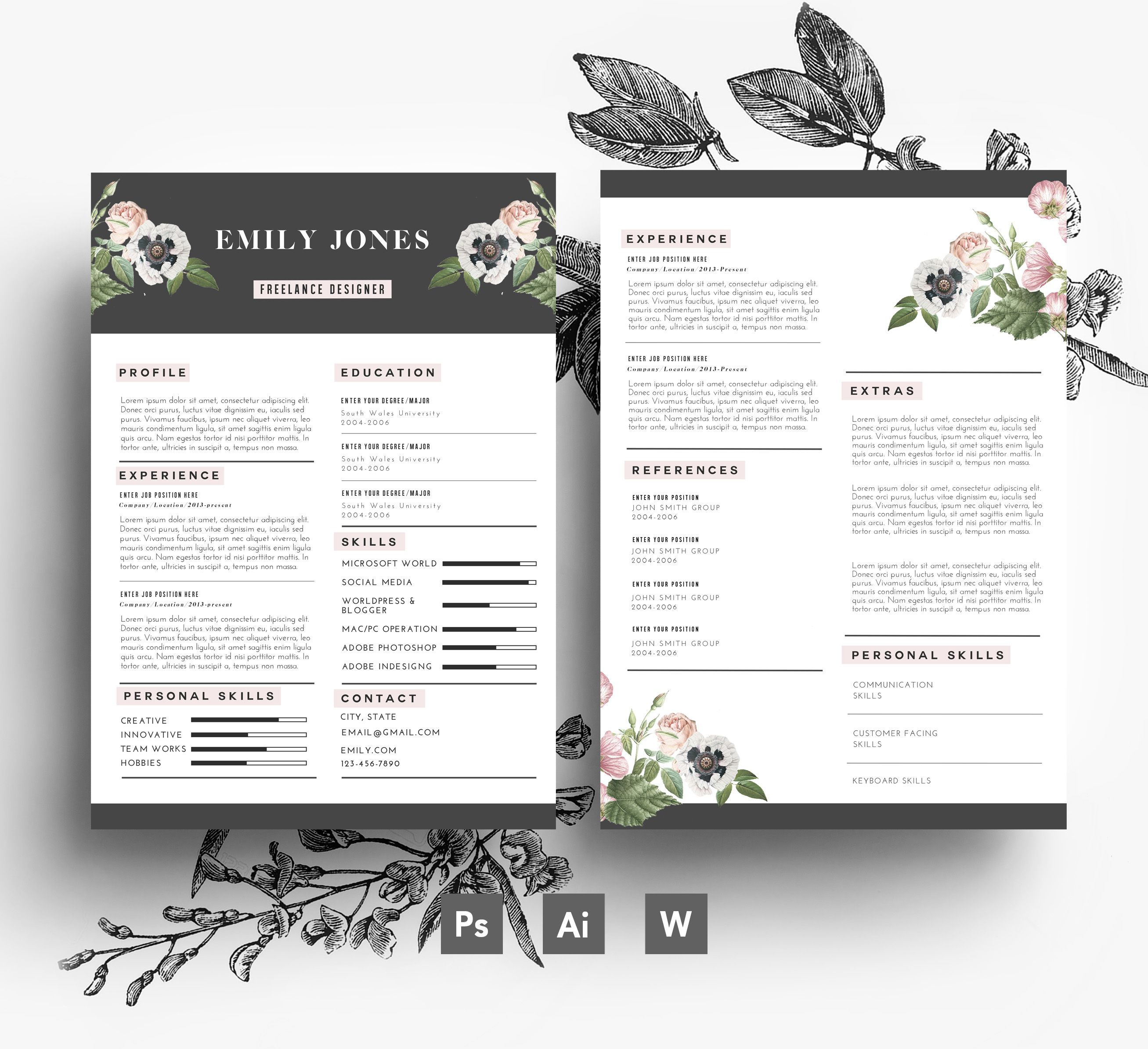 Beautiful Resume Layouts Cv Template 43 Cover Letter Template Flower Resumes