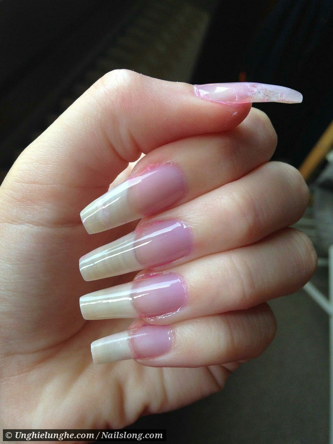 Long natural acrylic nails | Double Team + Dynamicpunch Clear ...