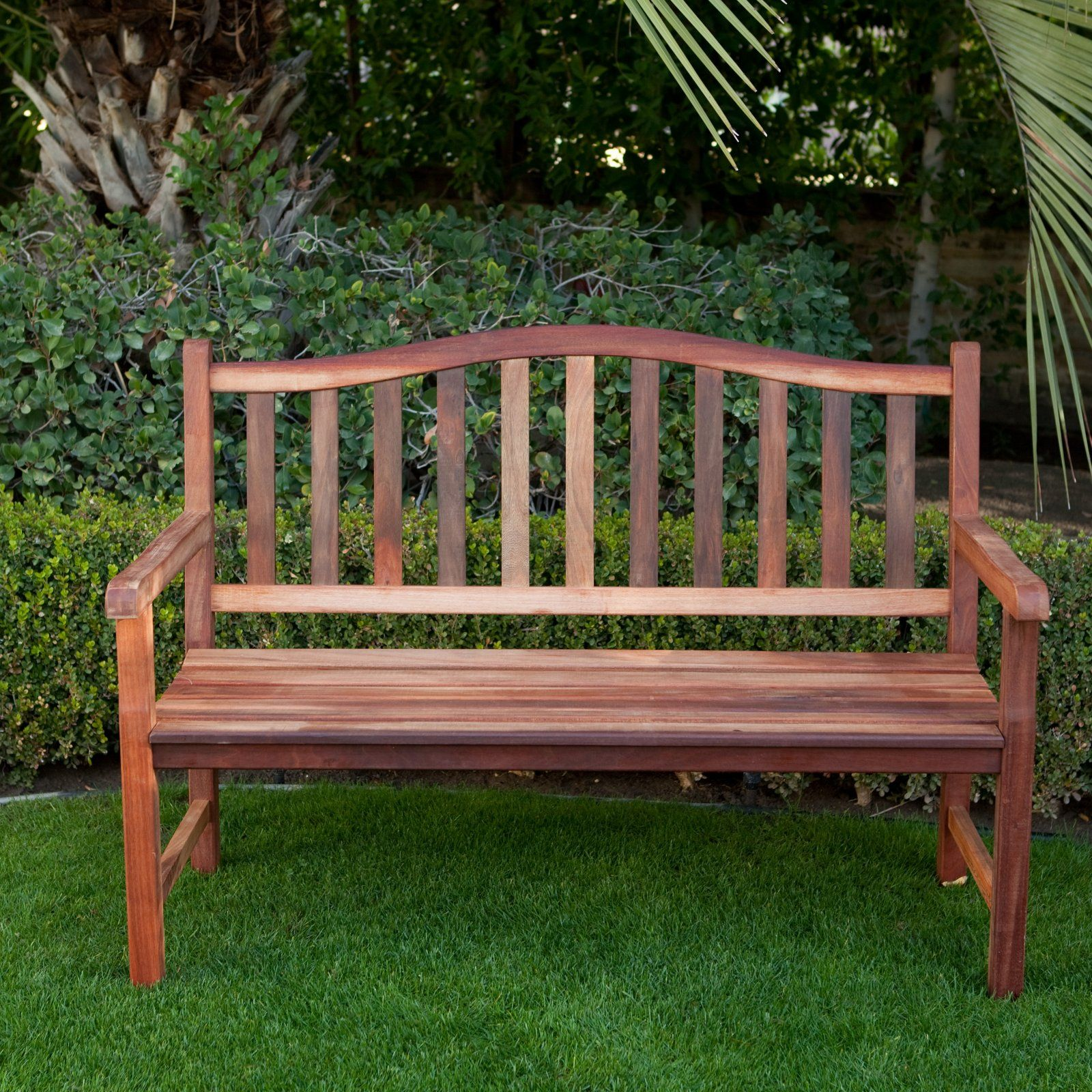 Richmond Arched Back 4-ft. Outdoor Wood Bench | Garden in ... on Belham Living Richmond Bench id=26603