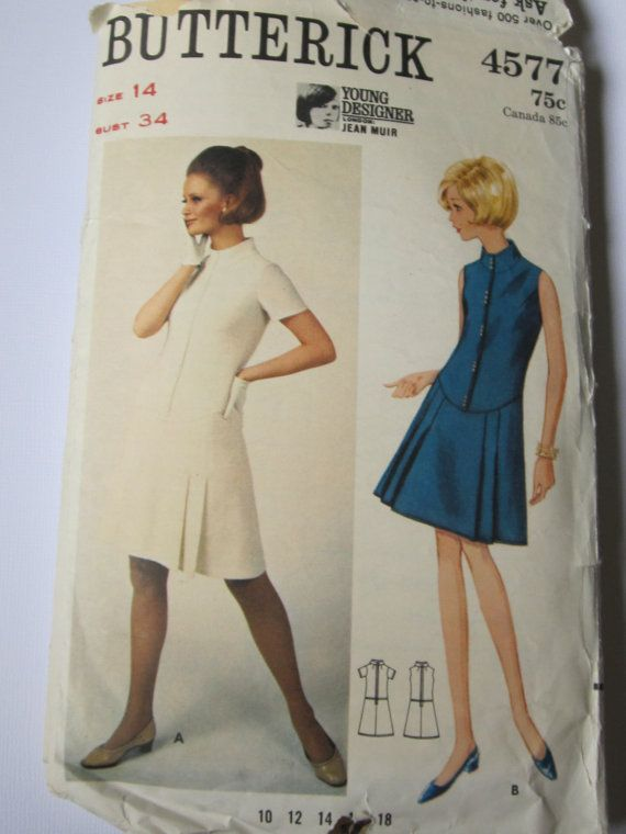 Vintage sewing Pattern 1960s dress butterick 4577 | figurines ...