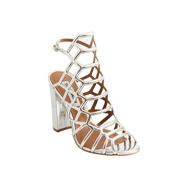 e5df96d73d21 Women s Steve Madden Skales Caged Sandal - Silver Metallic Casual (£90) ❤  liked on Polyvore featuring shoes
