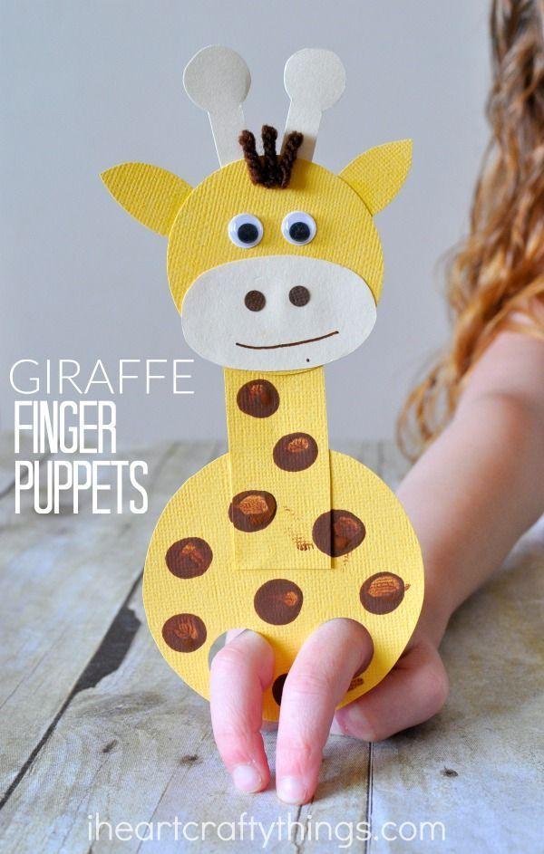 Adorable Finger Puppet Giraffe Craft #craft