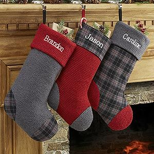 personalized christmas stockings northwoods plaid 13902 - Plaid Christmas Stockings