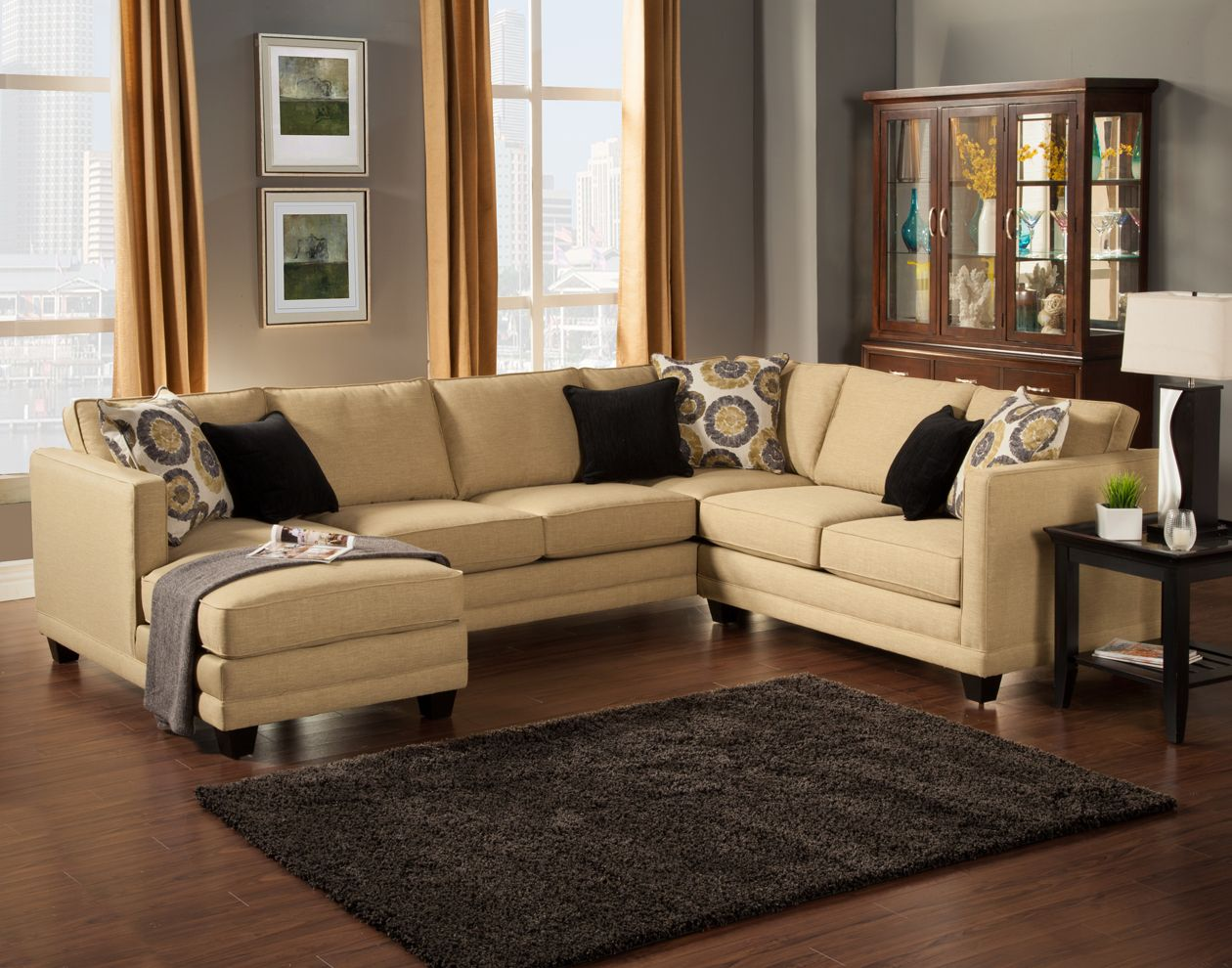 3 pc oasis collection willow color fabric upholstered sectional sofa with square arms and chaise