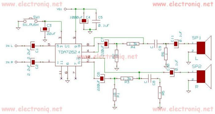 tda7262 stereo 20 watts audio amplifier circuit design - schematic ...